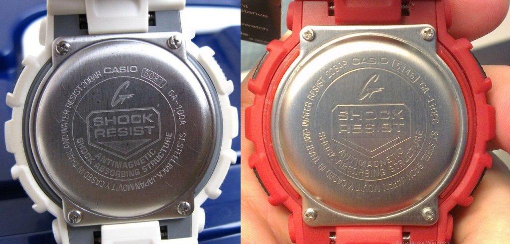 Слева фото от оригинальных GA-100, справа подделка на CASIO G-SHOCK GA-110FC-1A