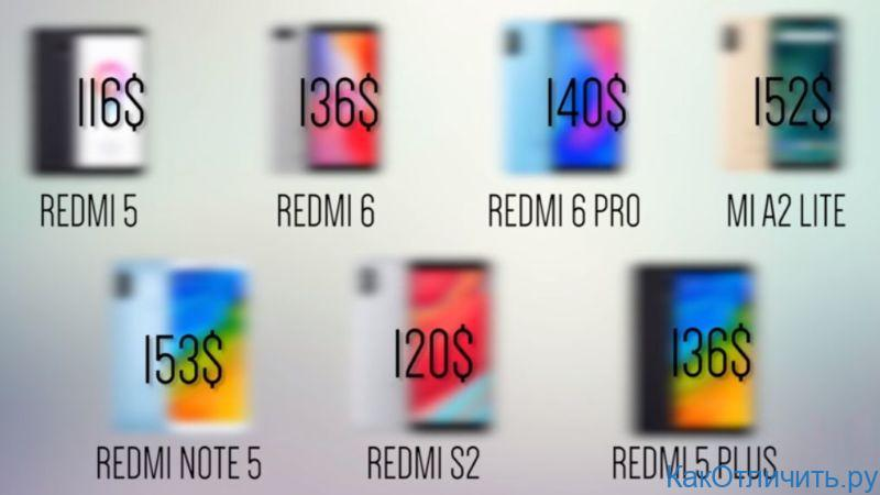Цены всей линейки Xiaomi от 100 до 200$