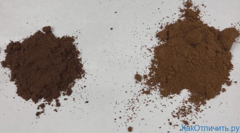 Молотый кофе, оригинал слева