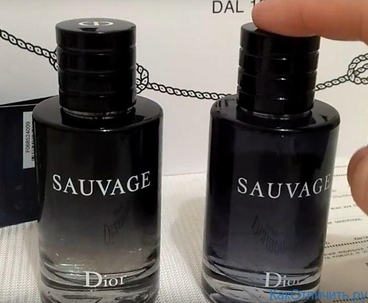 Отличия цвета жидкости Dior Sauvage