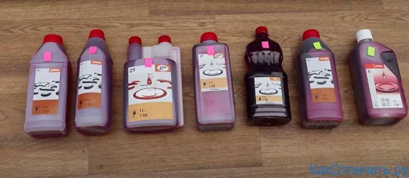 С розовым маркером - подделки, с зелёным маркером - оригинал масла STIHL