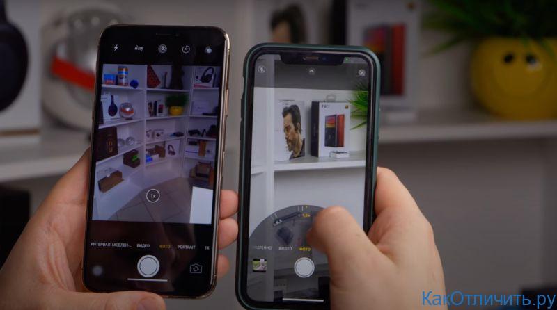 Слева - копия, справа - оригинальный iPhone